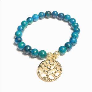 Azurite Chrysocolla Bracelet Tree of Life Charm  